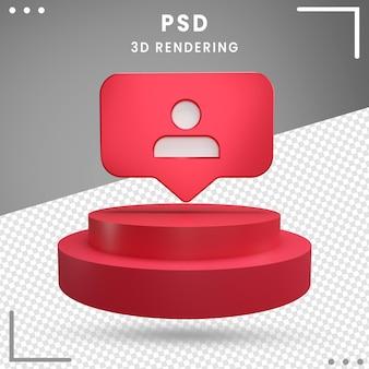 Abonnés du logo rotatif 3d rouge instagram