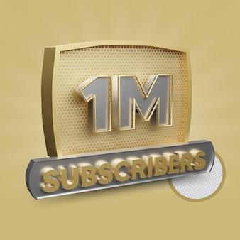 Abonnés youtube 1m bouton d'or rendu 3d