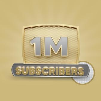 Abonnés youtube 1m or rendu 3d