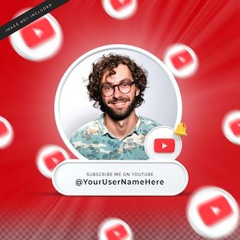 Abonnez-moi sur les médias sociaux youtube, tiers inférieur, rendu de la conception 3d, profil de l'icône de la bannière