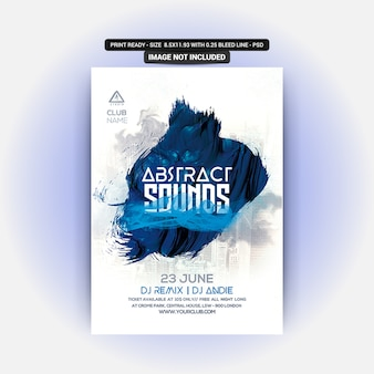 Abstract Sounds Party Flyer PSD Premium