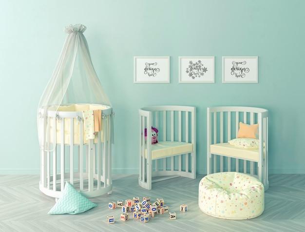 Abstrait chambre verte confortable pour enfants avec maquette de cadres