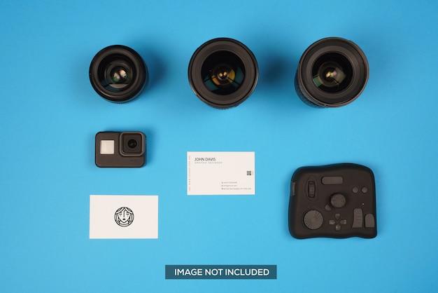 Accessoires pour appareil photo maquette de carte de visite en bleu