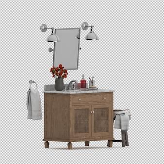 Accessoires de salle de bain isométrique rendu 3d isolé