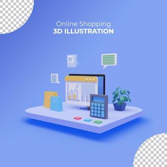 Achats en ligne 3d sur le service de site web d'ordinateur portable concept de vente de marketing numérique