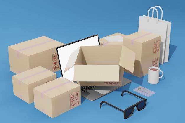 Achats en ligne e-commerce avec maquette d'ordinateur portable et de boîtes en rendu 3d