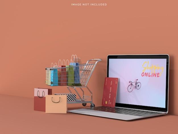 Achats en ligne avec des maquettes d'ordinateurs portables