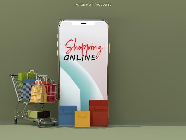 Achats en ligne avec des maquettes de smartphone