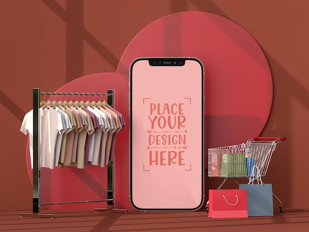 Achats en ligne avec modèle de maquette d'éléments mobiles et commerciaux
