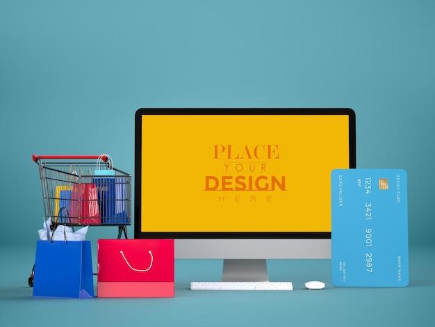 Achats en ligne avec modèle de maquette d'ordinateur et éléments d'achat
