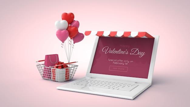 Achats en ligne de la saint-valentin et maquette de vente en illustration 3d