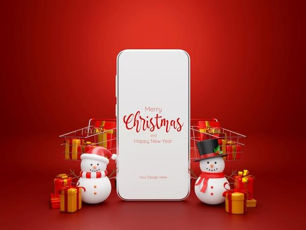 Achats de noël vente en ligne smartphone avec bonhomme de neige et carte d'achat remplie de cadeaux