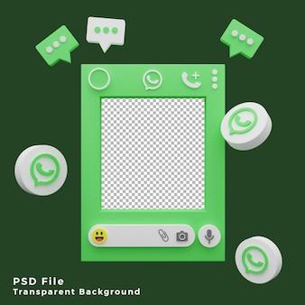 Actif de modèle de maquette whatsapp 3d avec illustration d'icône de logo de haute qualité