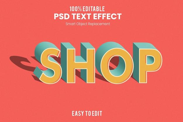 Action d'effet de texte extrudé 3d vintage rétro