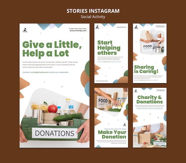Activités caritatives instagram stories