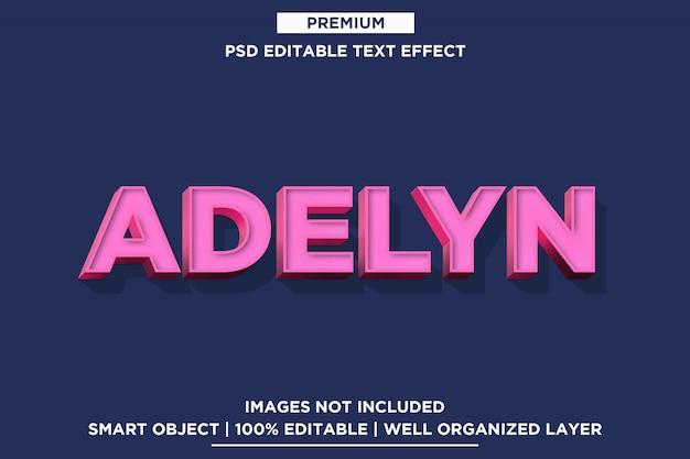 Adelyn - modèle d'effet de police de style de texte 3d psd