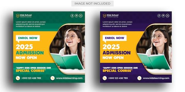 Admission à l'éducation scolaire pour les enfants modèle de publication sur les médias sociaux et instagram