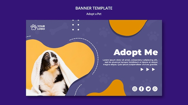 Adoptez Une Bannière Pour Animaux De Compagnie Psd gratuit