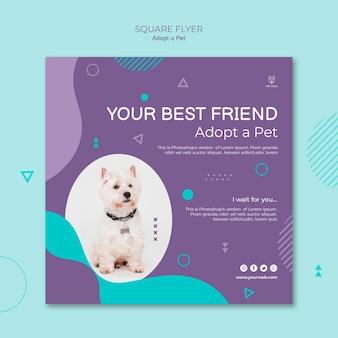 Adoptez un concept de flyer carré pour animaux de compagnie