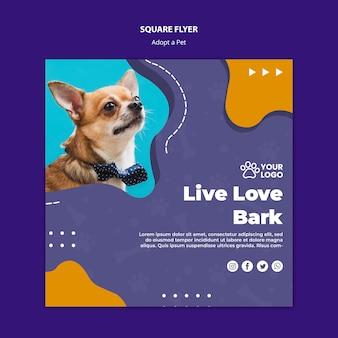 Adoptez un concept de flyer pour animaux de compagnie