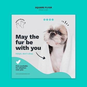 Adoptez une conception de flyer carré pour animaux de compagnie