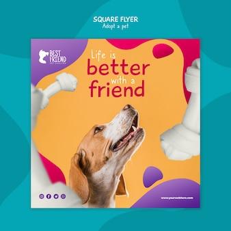 Adoptez un flyer carré ami de chien