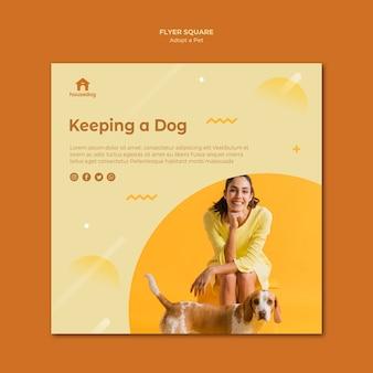 Adoptez un flyer carré modèle chien