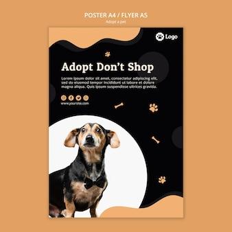 Adoptez un modèle d'affiche de concept pour animaux de compagnie