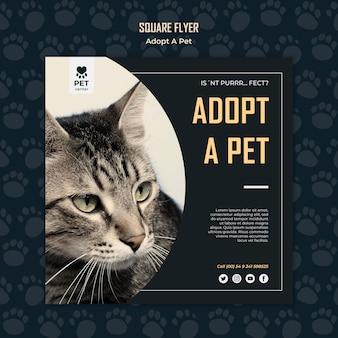 Adoptez un modèle de flyer carré concept pour animaux de compagnie