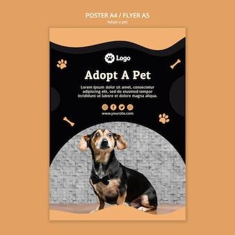 Adoptez un modèle de flyer de concept pour animaux de compagnie