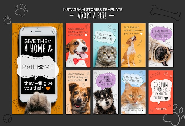Adoptez un modèle d'histoires d'amis instagram