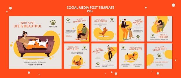 Adoptez une publication sur les réseaux sociaux pour animaux de compagnie