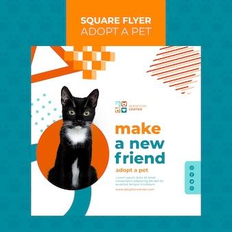 Adoptez un style de flyer carré pour animaux de compagnie