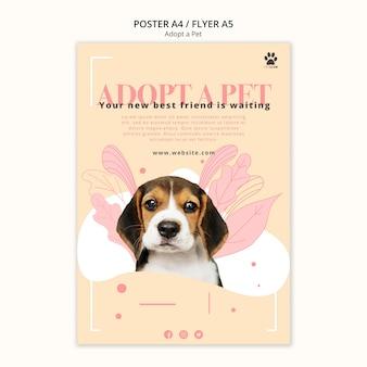 Adoptez le thème du modèle d'affiche pour animaux de compagnie