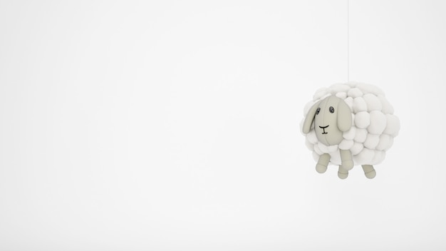 Adorable jouet enfant en laine de mouton avec fond blanc