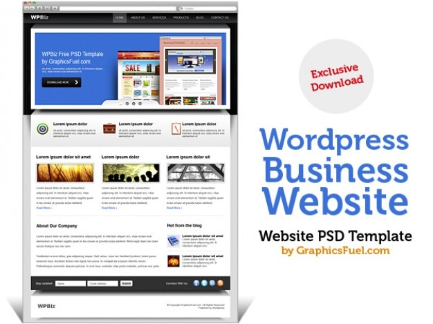D'affaires wordpress site psd modèle