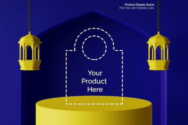 Affichage du produit de concept créatif de bloc de couleur rendu 3d avec lanterne islamique ramadhan
