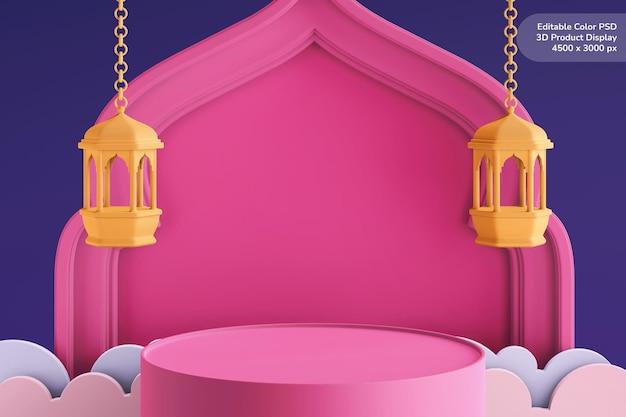 Affichage du produit podium rendu 3d thème ramadan eid mubarak