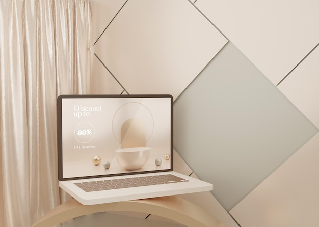 Affichage de maquette d'ordinateur portable de plate-forme surréaliste de rendu 3d pastel