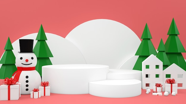 Affichage de podium de maquette pastel de noël de bonhomme de neige de boîte-cadeau