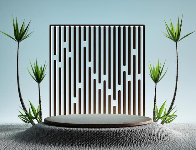 Affichage de produit de podium abstrait 3d avec arbre naturel et feuilles