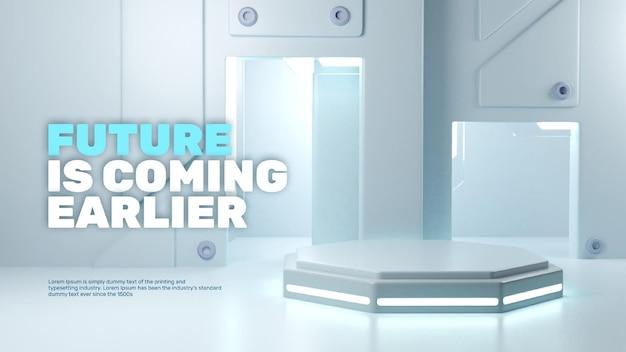 Affichage de produit de podium de techy futuriste de laboratoire 3d