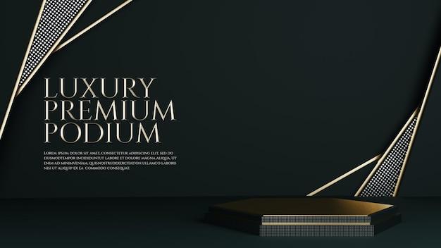 Affichage de produits de podium d'ornement géométrique de luxe en or