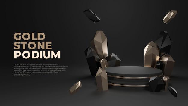 Affichage de promotion de produit de podium réaliste 3d en pierre d'or