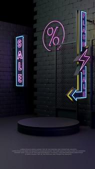 Affichage de promotion de produit de podium réaliste 3d de vente flash de lueur au néon