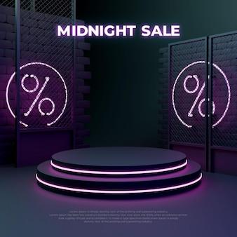 Affichage promotionnel de produit de podium réaliste 3d de vente de lueur au néon