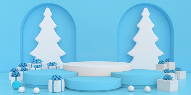 Affichage de rendu 3d couleur pastel maquette joyeux noël et bonne année