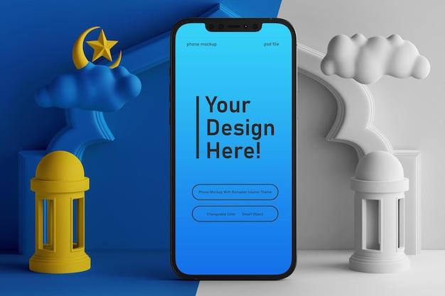 Affichage de téléphone mobile couleur modifiable maquette sur la scène de rendu 3d thème islamique ramadan eid mubarak