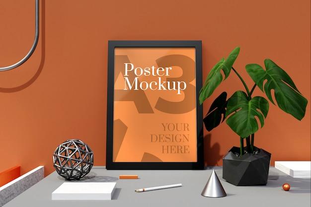 Affiche a3 et maquette de cadres photo