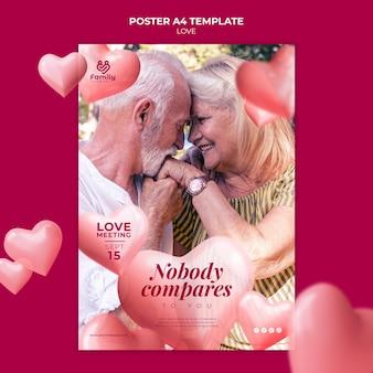 Affiche a4 couple de personnes âgées